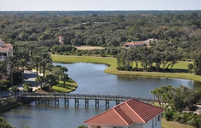 View to the west from our condo showing Hammock Beach Club entrance & Ocean Cour