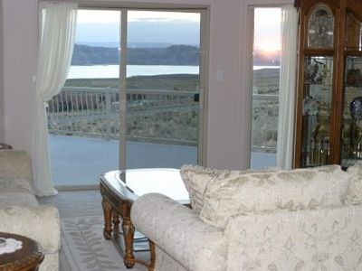 Lake View of Formal Living Room at Sunrise