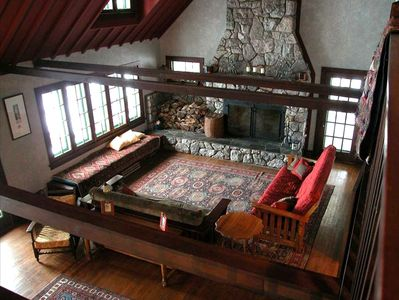 Lutsen house rental - Great Room fireplace