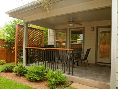 Austin house rental - Ceiling Fan on patio provides cool rbeezes for evening supper and leisure times