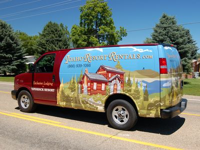 Service van of professional property management company that cares for home.