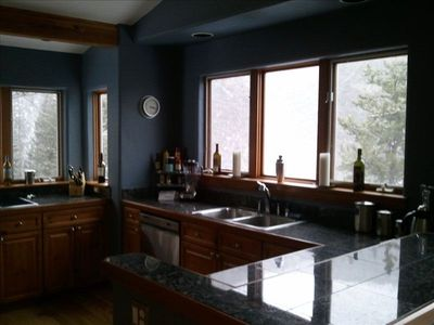 daytime kitchen, with mountain views