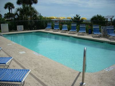 Enjoy the sunshine and the salt air at the outside pool