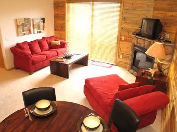 Grand Lake condo rental - Great room with outside deck overlooking Bawldy Mountain in Grand Lake