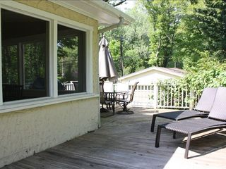 Union Pier cottage photo - Large back deck; sun chairs, with gas grill