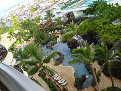 View from Lagoon Tower and Slides and waterfalls swimming pools