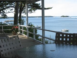 Bayville cottage photo - View from front covered porch to Linken Bay