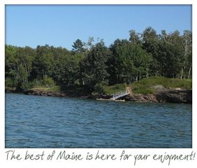 A view of the peninsula from the water. - Harpswell cottage vacation rental photo