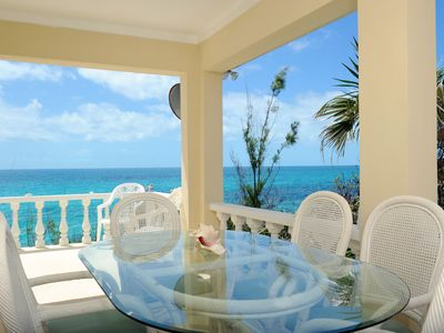 Shaded outside dining area, overlooking the Caribbean Sea.