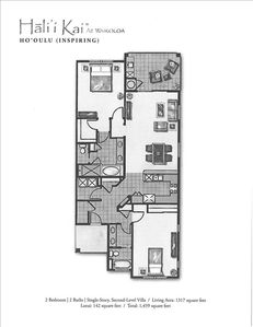 Spacious (1459 sq ft.) two bedroom/two bath layout that ensures privacy.