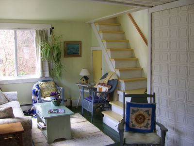 Belfast farmhouse rental - stairs to back bedroom