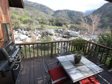 Three Rivers house rental - Kitchen deck with views of river, mountains and wildlife