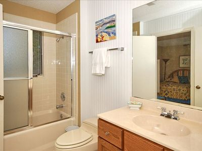 Second full bathroom offers tub/shower combination.