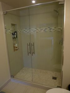 San Francisco condo rental - Master Bathroom with power shower - big enough for two!