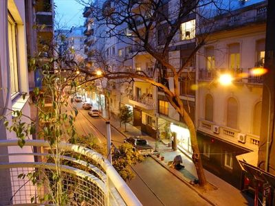 Recoleta apartment rental - View from balcony onto Junin at night