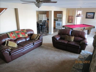 "Lake Ozark house rental - New lower level living room with 53"" Sony tv/dvd, pool table, great view cove"