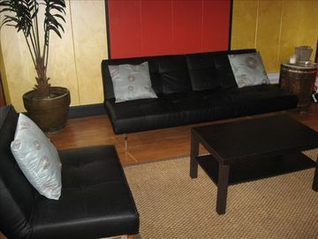 Bisbee bungalow rental - Large, airy front room with clean lines helped by Japanese modern furniture!