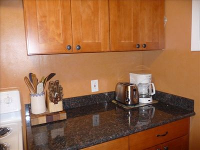 The kitchen is very well equipped for cooking.