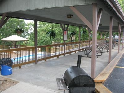 Branson condo rental - Pavilian by the pool. Great for get togethers with large groups!