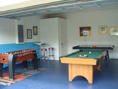 Game Room With Foosball, Air Hockey, & Billiards