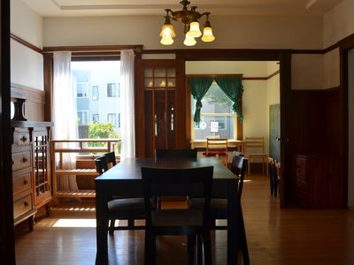 Warm home - dining room and play room. Dinning table can be extended.