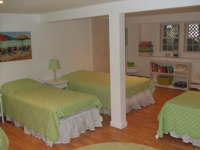 Bunk room in walk out basement - TV with 2 twin beds & 2 double beds