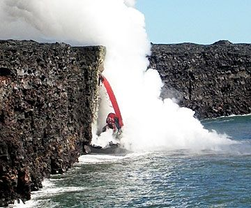 100 foot lava shelf collapse, 2007, resulting in 6 foot around lava cascade.