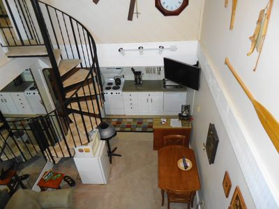 Bellaire / Shanty Creek condo rental - Living and kitchen area from the loft