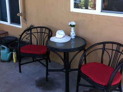 Enjoy your morning coffee on the patio.