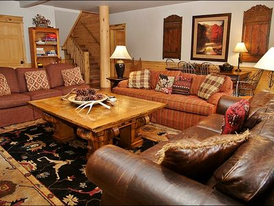 Lower Living Room - 3 Couches, TV, DVD, Game Table, & Hutch with Games