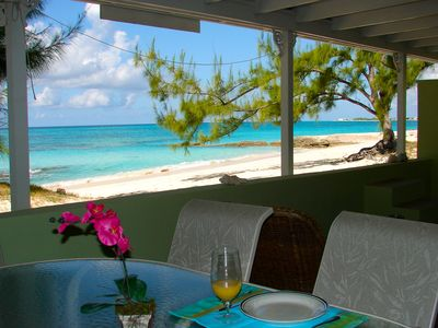 Grand Turk apartment rental - Veranda dining area and view of the beach.