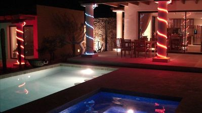 Night View of Pool and Jacuzzi