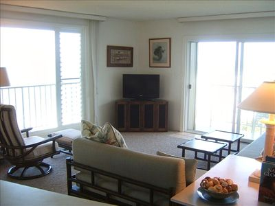 A very comfortable living room with fabulous views of the great Paciic Ocean.