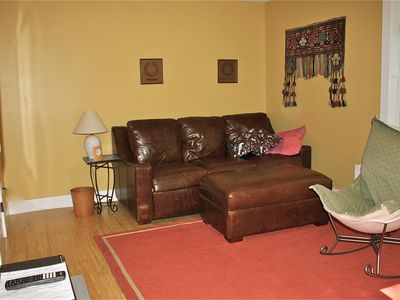 Mount Desert house rental - First floor TV room with cozy platform pullout couch. Across from new full bath