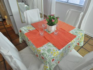 Close up of the dining table