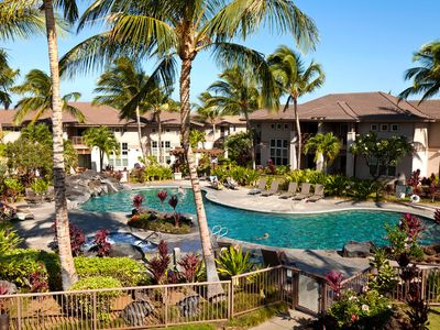 Waikoloa Beach Resort townhome rental - View of the pool from the upstairs lanai