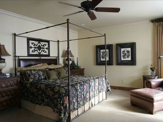 Park City house photo - King iron bed with leather panel in upper master