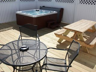 Harpers Ferry house photo - 400 sq ft deck with 6 private 6 person hot tub and seating for 10