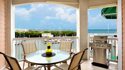 The balcony offers a great view of the marina and Florida Bay...