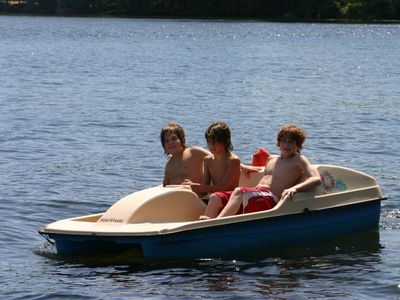 Two pedal boats available for rent