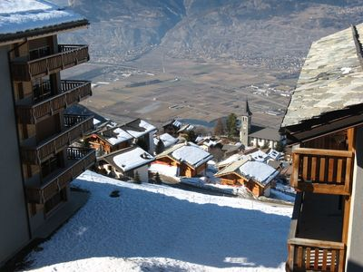 Late Winter view of Resort and Village of Veysonnaz.