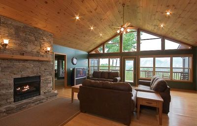 "Great Room with fireplace, 52"" HD TV, awesome views of the Smoky Mountains"