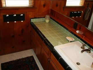 Lake Arrowhead cabin photo - Bathroom with original tile and updated fixtures