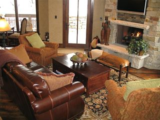 Deer Valley condo photo - Family Room with Gas Fireplace and large outdoor deck with Gas Grill