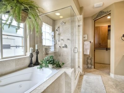 Master Suite bath (1of 2) w/jetted tub,dbl shower, & more!