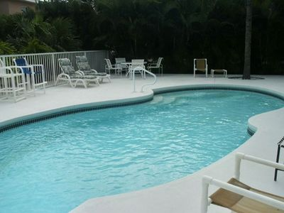 Large 12' X 28' heated pool - has both a shady area AND a sunny area to relax