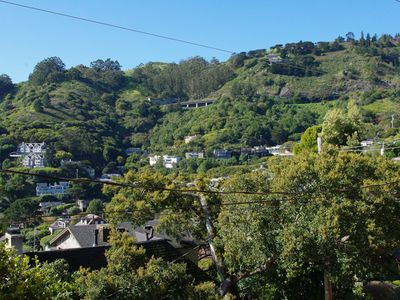 Views of the neighboring properties and picturesque hills of Sausalito