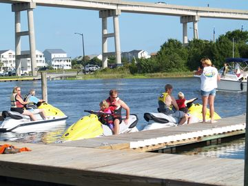Enjoy renting jet skis down by the bridge.