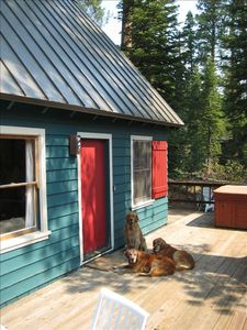 entrance and deck w/ hot tub Our dogs Milo, Watson and Bodie welcome you