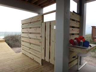 Mexico Beach house photo - Outdoor hot & cold shower with fish cleaning station, oops didn't move chairs